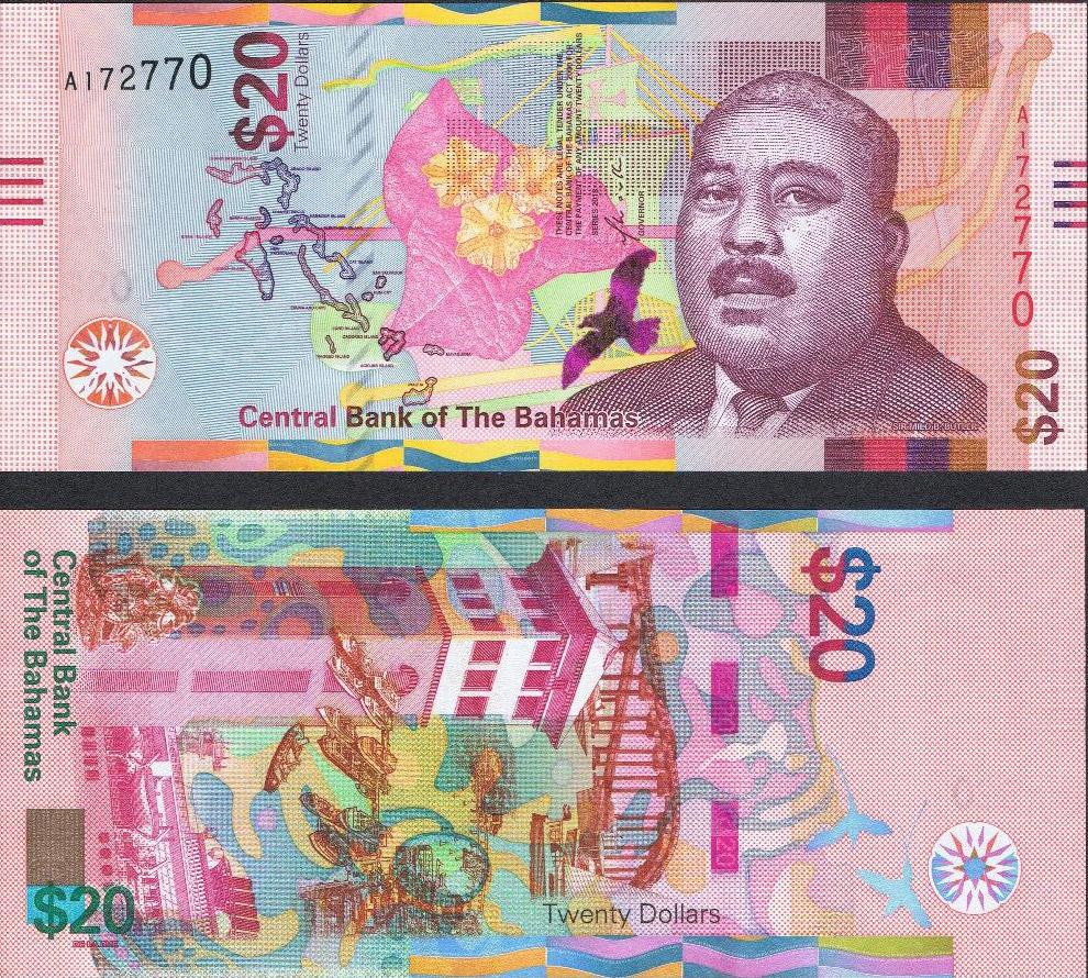 20-долларовая купюра Багамских островов