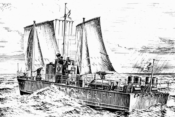 Морской охотник типа МО-4 под парусами