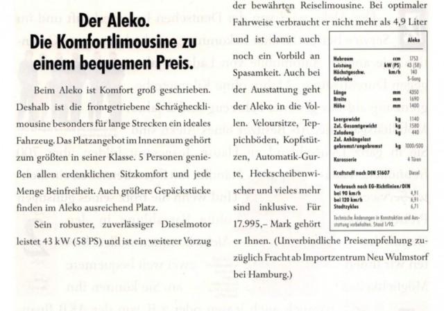 Aleko пытались продавать даже в ФРГ, но – с дизелем Ford