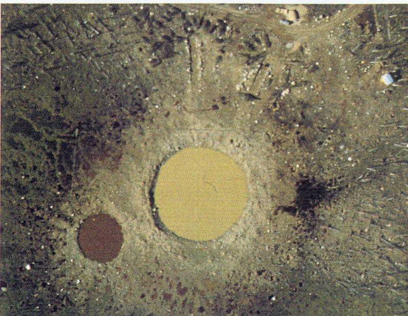 Кратеры от взрывов обычных ВВ в бассейне реки Наусты, произведённых 28 августа 1957 года (операция «Вега») - Неудавшаяся ковка молота Тора | Военно-исторический портал Warspot.ru