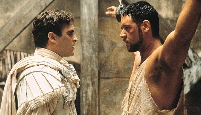 Кадр из кинофильма «Гладиатор» (2000). Рассел Кроу в роли генерала Максимуса и Хоакин Феникс в роли Коммода.