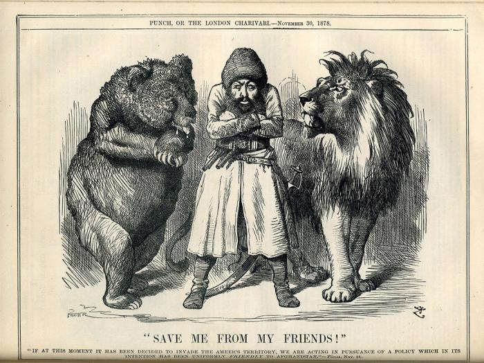 «Спасите меня от моих друзей». Карикатура времён Большой игры. Афганский эмир Шир-Али между Россией (медведь) и Британской империей (лев)./Фото: ordu.az