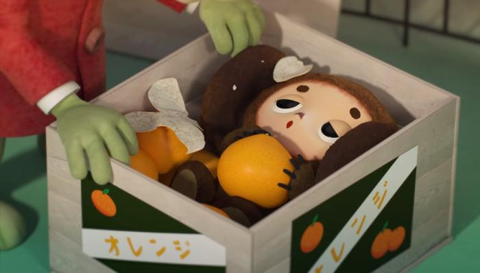 Чебурашка в ящике из-под апельсинов. Японских.