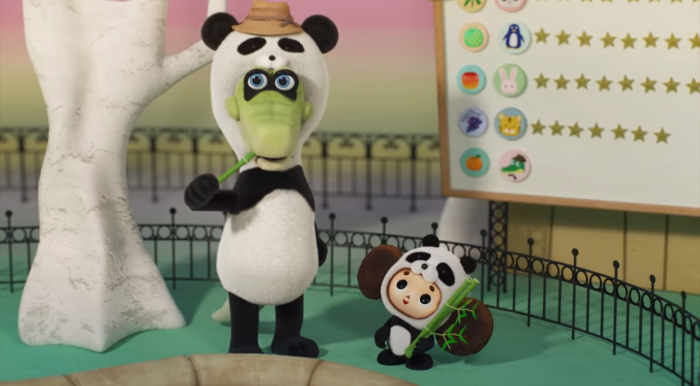 Гена и Чебурашка изучают, чем питаются панды, и сами пытаются быть пандами.