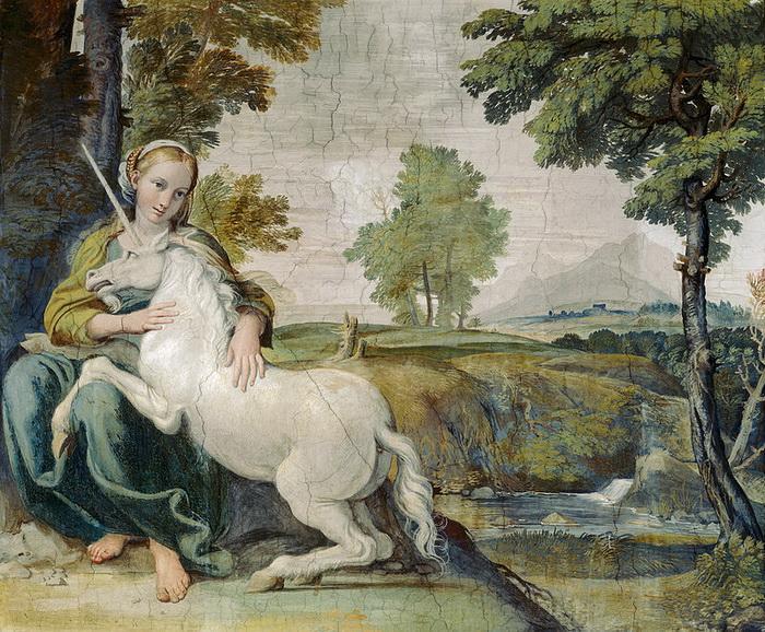 Фреска с единорогом в палаццо Фарнезе