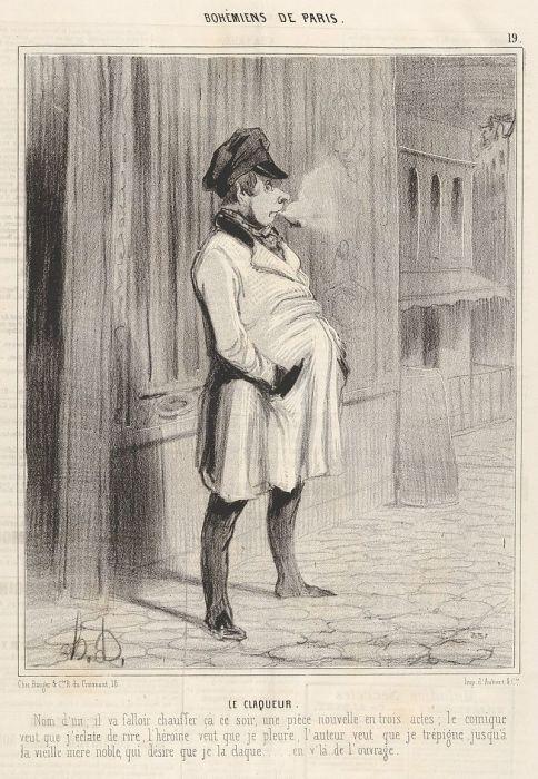 Оноре Домье, «Клакёр», гравюра из цикла «Парижская богема», 1842 год