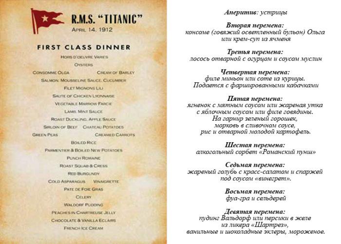 Обеденное меню пассажиров 1 класса Титаника