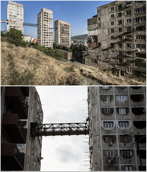 На сложном тбилисском рельефе приходилось возводить жилые дома на крутых склонах. | Фото: sovietarch.strelka.com.