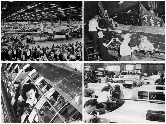 30 тыс. человек ежедневно трудилось на заводе, собирая бомбардировщики Boeing B-17. | Фото: twizz.ru.