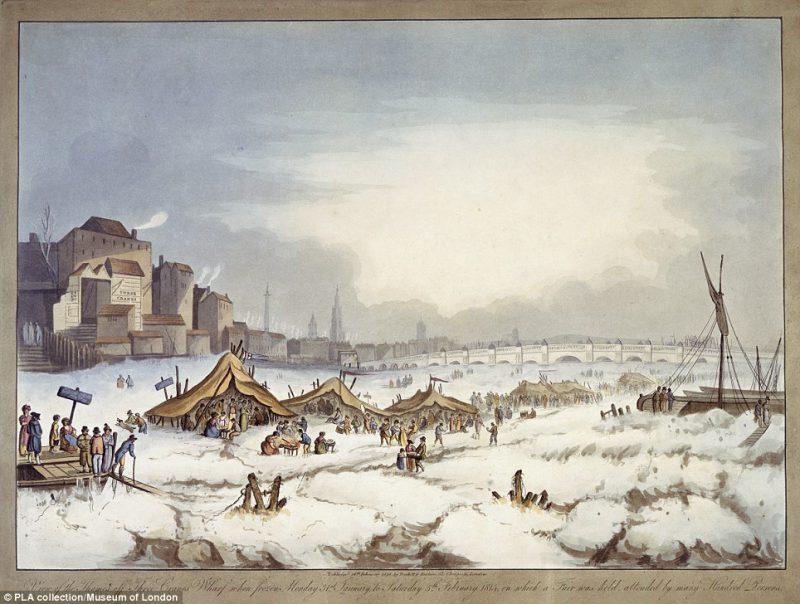 Лед на Темзе в Лондоне. 1816 год