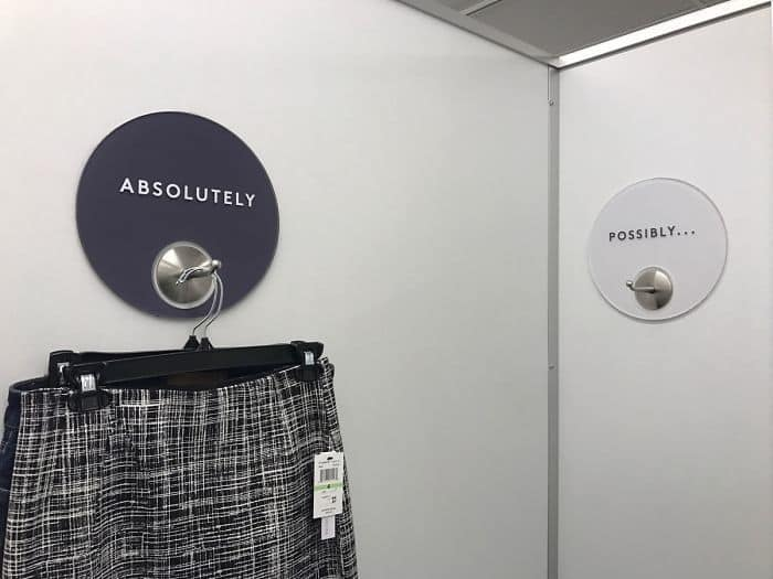 This Dressing Room Has Their Clothing Hooks Labeled