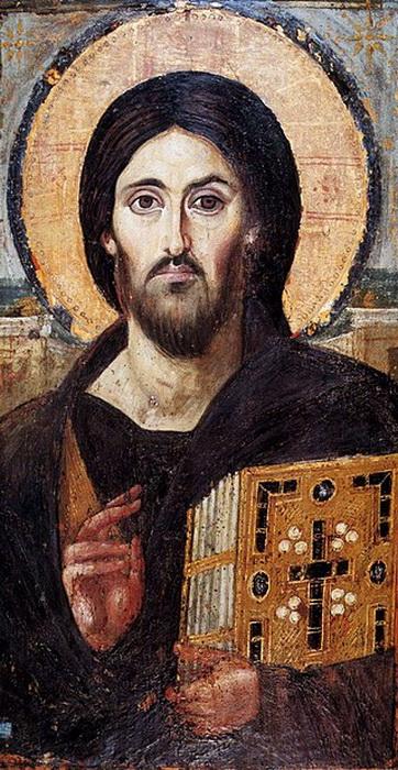Христос Пантократор, икона VI в. Пальцы изображены сложенными двуперстно