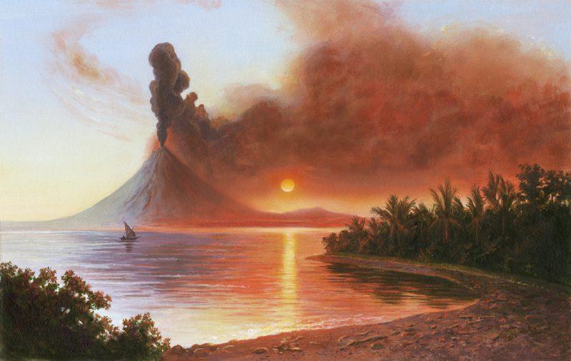 Извержение вулкана Тамбора. Художник Роб Вуд (Rob Wood)