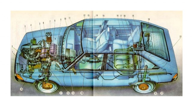 Продольное расположение силового агрегата и передний привод – примерно как на Audi 100 тех лет