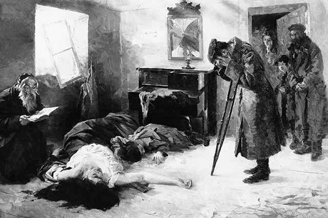 Картина Моисея Маймона «Опять на родине» (1906). Солдат-еврей обнаруживает свою семью убитой в результате погрома. © / Public Domain
