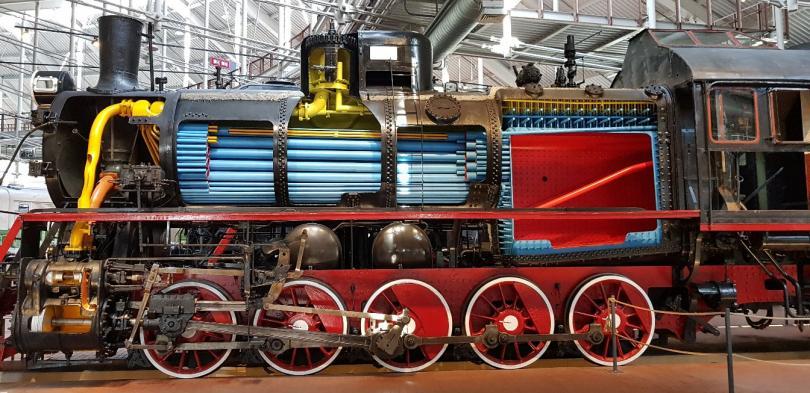 Наглядная модель в разрезе устройства паровоза серии Э в Музее российских железных дорог в С.Петербурге на Балтийском вокзале. Фото: Алексей Алексеев