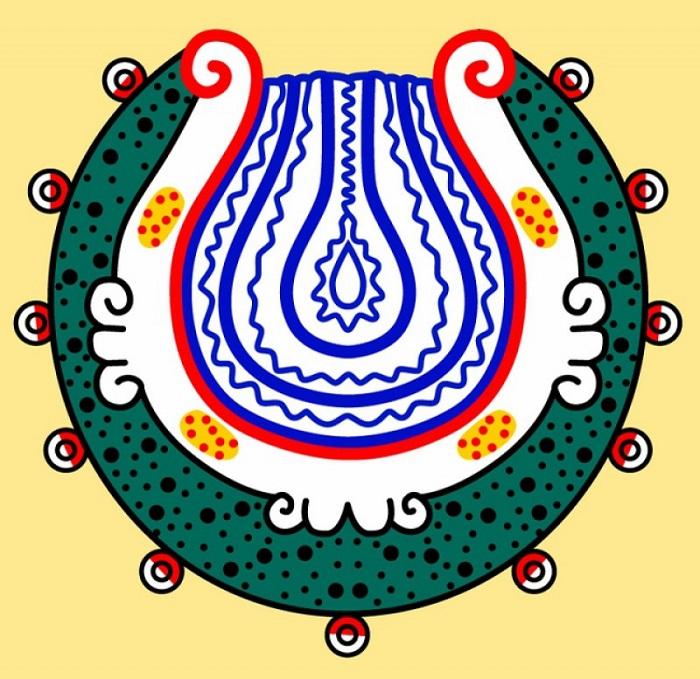 Обычное изображения божества Мецтли. Видимо, художники не знали, девушку рисовать или юношу, и выкручивались символами и аллегориями.