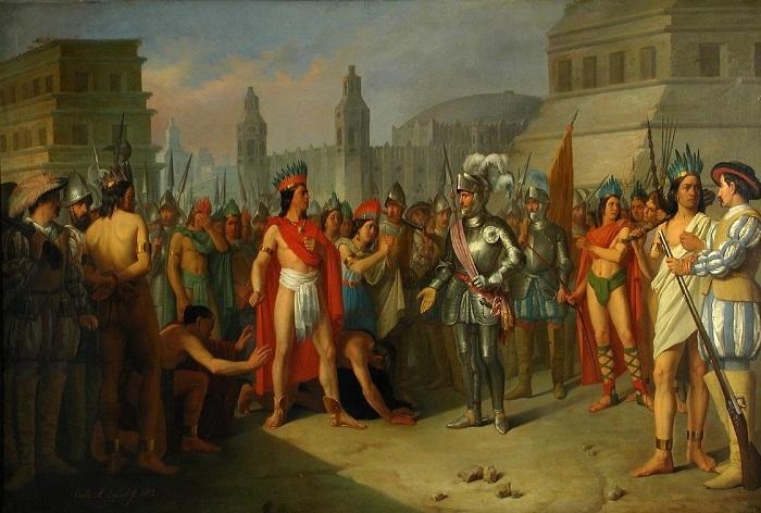 Завоевание Кортесом ацтеков глазами художника Карлоса Эскивеля и Риваса.