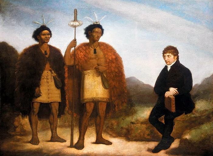 Вождь Хонги Хике (в центре) встречается с миссионером Томасом Кендаллом, 1820 год. National Library of New Zealand. / Фото: wikipedia.org