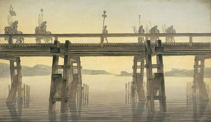 Так выглядел мост Цезаря через Рейн.