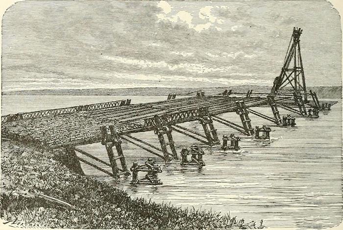 Иллюстрация моста Цезаря через Рейн из «Истории Рима и римского народа от его происхождения до вторжения варваров» (1883 г.)