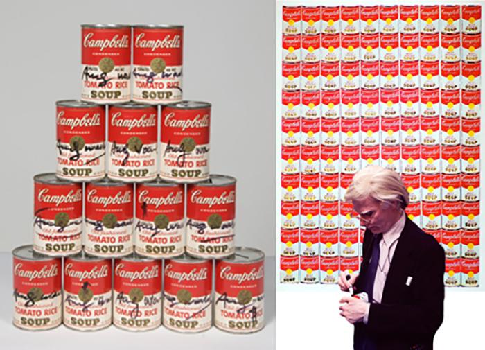 Энди Уорхол подписывает банки с супом.