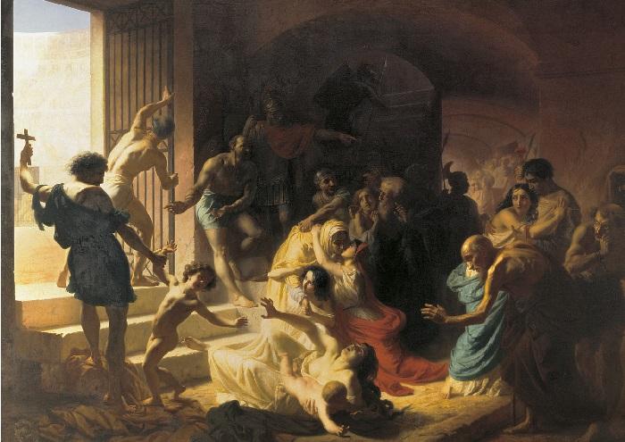 Христианские мученики в Колизее. (1862). Холст, масло. 385 x 539 см Государственный Русский музей, Санкт-Петербург. Автор: Константин Флавицкий.