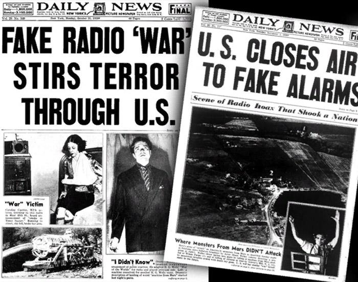 Газетные заголовки, рассказывающие о шуточной постановке «Войны миров»