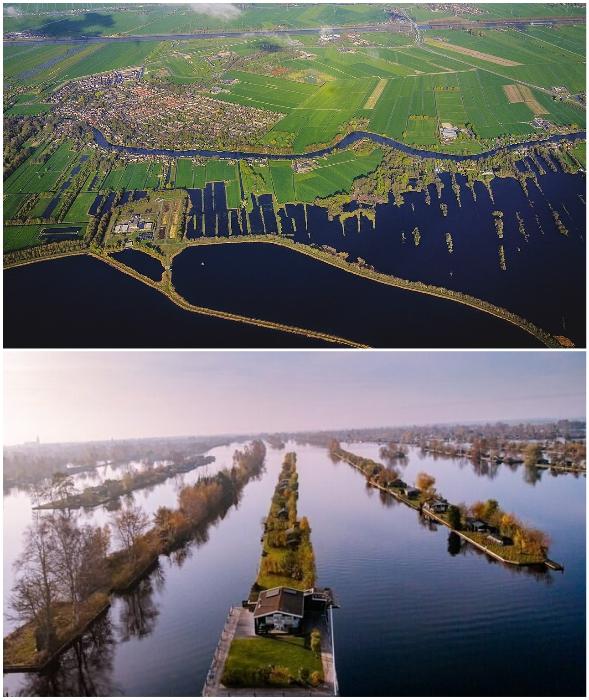 Стройные ряды островов оказались рукотворным «архипелагом» (Vinkeveense Plassen, Нидерланды).