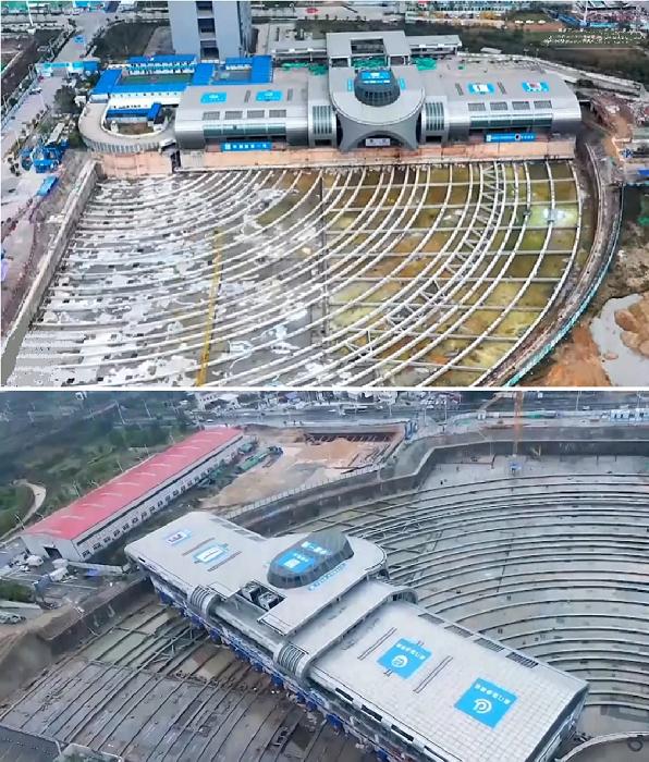 Один конец терминала «прошагал» целых 288 м (Xiamen, Китай). © New China TV.