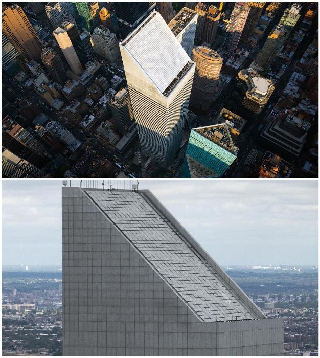 На верхних этажах башни установили инерционный демпфер (Сiticorp Center, Манхэттен).