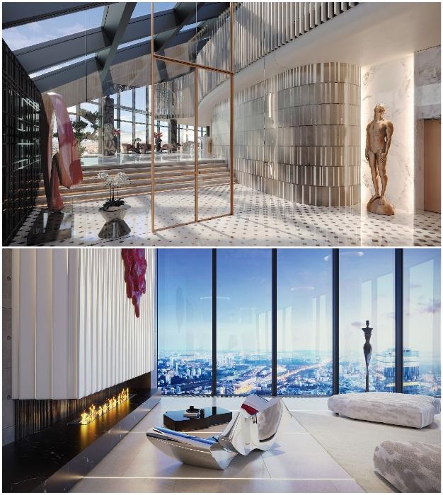 Интерьер холла и гостиной элитного пентхауса («Платиновые апартаменты», «Башня «Восток»).