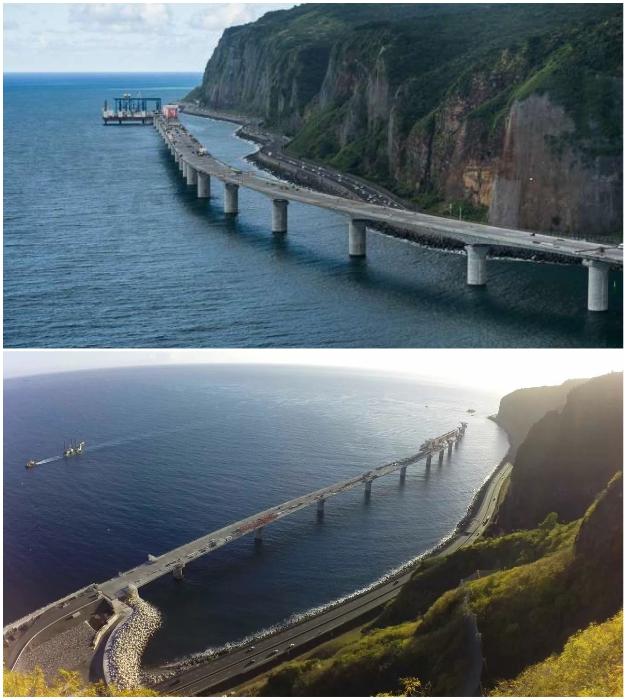 Сборный железобетонный виадук длиной 5,4 км находится на значительном расстоянии от берега (о-в Реюньон).