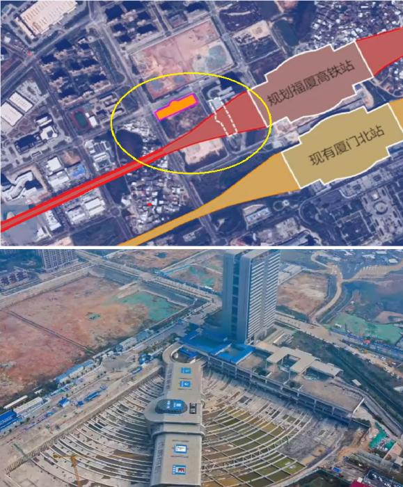 Железнодорожное полотно должно было пройти поперек автовокзала (Xiamen, Китай).