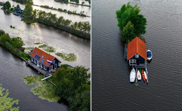 Что может быть лучше, чем загородный дом вдали от соседей, среди живописной природы и воды? (Vinkeveense Plassen, Нидерланды).