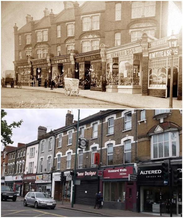 Очаровательный «Парад магазинов» на Hale End Road стараниями современников превратился в обыденный базарный ряд (снимки 1900 г. и 2020 г., Лондон). | Фото: timeviews.home.blog.