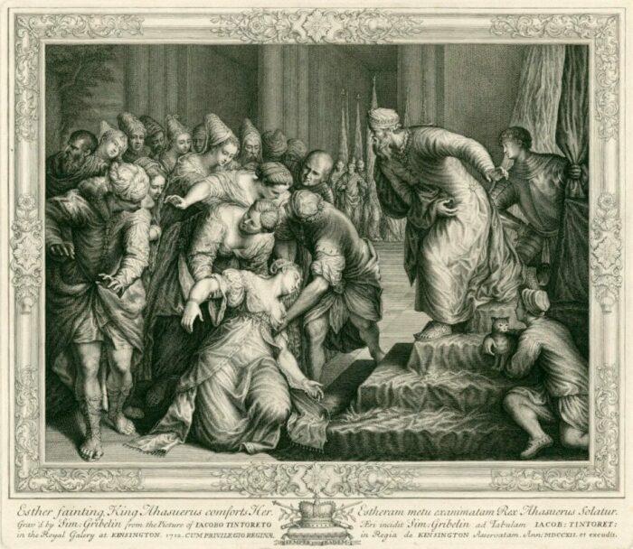 Эсфирь перед Агасфером (Ксерксом), гравюра Симона Грибелина, 1712 год. \ Фото: royalacademy.org.uk.