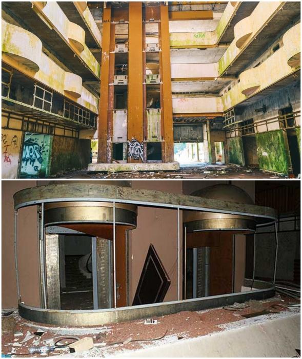 Прозрачные лифты-капсулы доставляли отдыхающих в апартаменты (Monte Palace, Азорские острова).