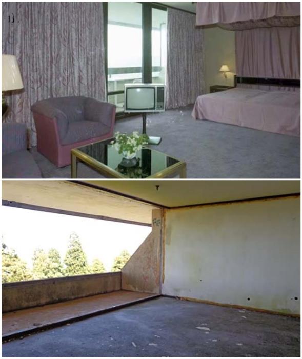 Некогда роскошные отельные номера полностью потеряли былую красоту (Monte Palace, Азорские острова).