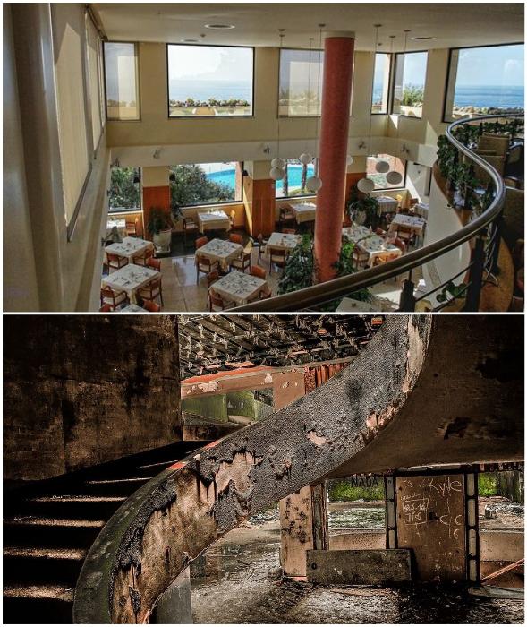 Изящную лестницу в ресторане время тоже не пощадило (Monte Palace, Португалия).