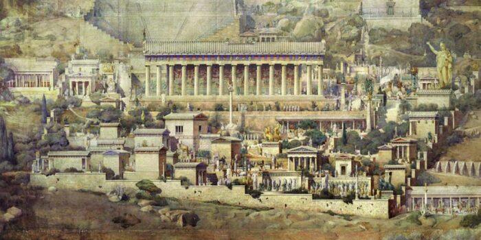 Реконструкция святилища Аполлона в Дельфах Альбера Турнера, 1894 год. \ Фото: michaelscottweb.com.