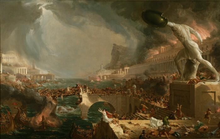 Курс империи, разрушение, Томас Коул, 1836 год. \ Фото: mocah.org.