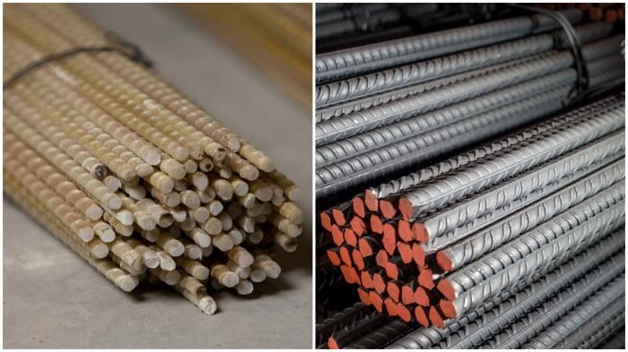 В отличие от стальной, композитную арматуру нельзя сплющить, приварить или согнуть / Фото: tricolor.com.ua