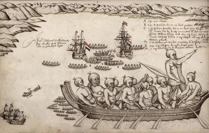 Первая встреча с маори. Рисунок из путевого журнала Абеля Тасмана, 1642 год. / Фото: gahetna.nl