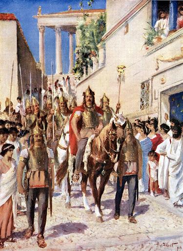 Аларих въезжает в Афины, неизвестный художник, около 1920 года. \ Фото: igemorzsa.hu.