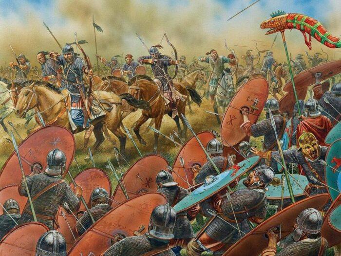 Вестготы отбивают атаку лёгкой кавалерии гуннов, Каталаунские поля, 451 год. \ Фото: google.com.